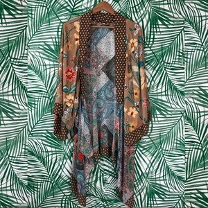 Umgee Floral Tiered Bohemian Patchwork Kimono M/L